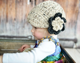 Baby Girl Hat 9 to 12 Month Oatmeal Baby Hat Baby Girl Clothes Charcoal Gray Crochet Flower Hat Flapper Beanie Flapper Hat Winter Hat Warm