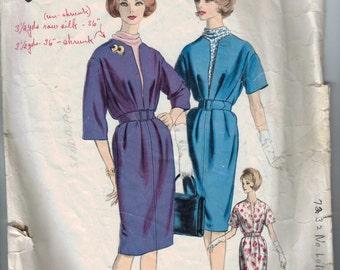 1960s Vintage Sewing Pattern Vogue 1039 Paris Original Gres Designer Dress Size 12 Bust 32 INCOMPLETE  99