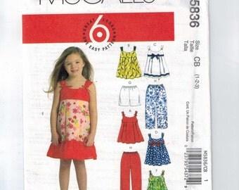 Kids Sewing Pattern McCalls M5836 5836 Girls Top Dress Sundress Pants Shorts Size 1 2 3 Chest 20 21 22 UNCUT