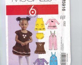 Sewing Pattern McCalls M5916 5916 Girls Dress Bloomerrs Top Overalls Rompers Easy Size Small Medium Large UNCUT