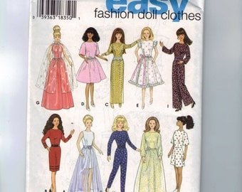 Doll Sewing Pattern Simplicity 9838 11 1/2  Inch Doll Barbie Designe Your Own Easy Fashion Doll Clothes  UNCUT 1990s 90s
