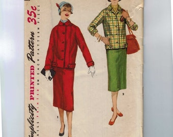 1950s Vintage Sewing Pattern Simplicity 1324 Misses Two Piece Suit Skirt Jacket Dress Size 12 Bust 30 50s  99