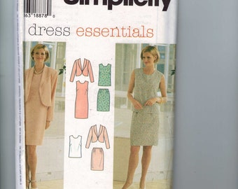 1990s Misses Sewing Simplicity 7115 Misses Dress Essentials Petite Slim Dress Top Skirt Jacket Size 12 14 16 Bust 34 36 37 UNCUT 1993 90s