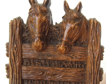 Vintage Wood Composite Horses Bookend