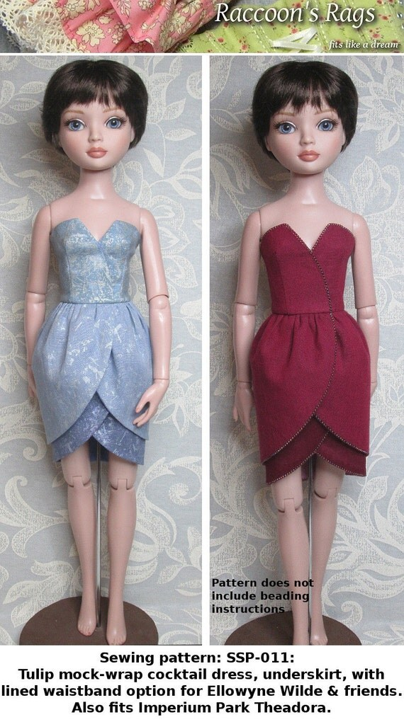 STRAIGHTFORWARD SEWING Pattern SSP-011: Tulip cocktail dress with underskirt for Ellowyne Wilde & friends