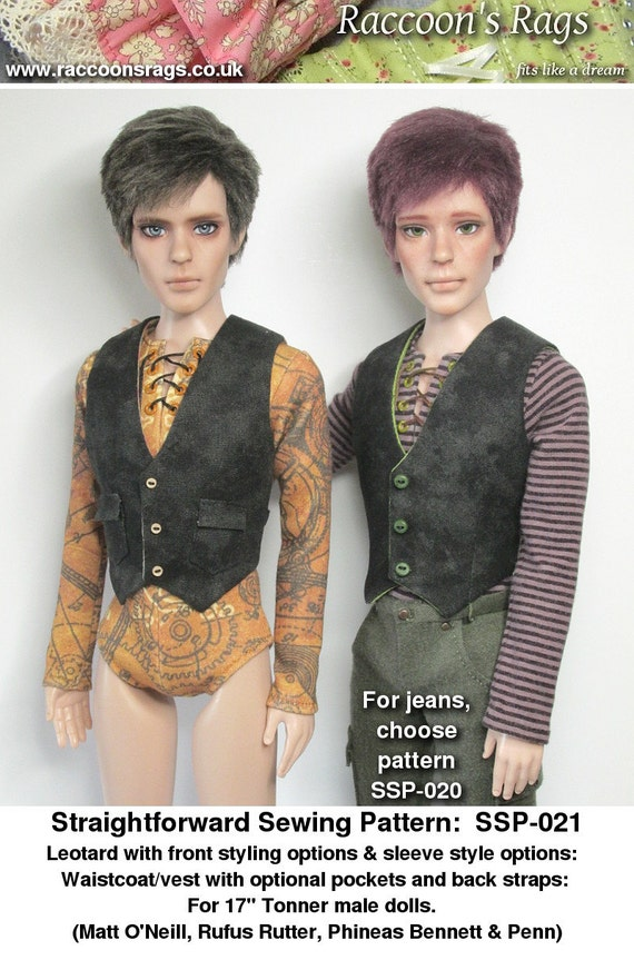 "STRAIGHTFORWARD Sewing Pattern PDF- SSP-021:  Leotard in different styles, and waistcoat for 17"" Tonner male dolls. Matt, Rufus, Phin, Penn"