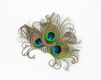 Peacock Feather Fascinator - AB Austrian Crystal Hair Accessory - Unique Wedding Headpiece - Victorian Bridal Accessory - Bridesmaids Hair