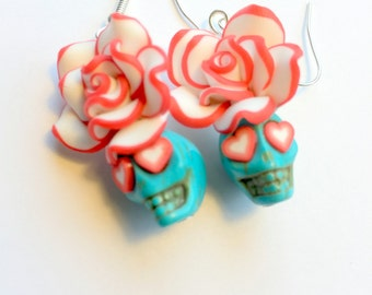 Sugar Skull Earrings Turquoise and Red Day of the Dead Hearts and Roses