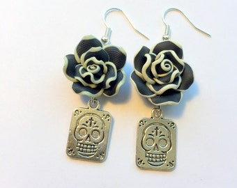 Sugar Skull Earrings Day of the Dead Black White and Silver