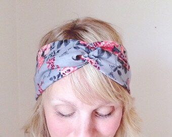 Turban Headband - Headwrap - Turband - TopTwist Headband - Twist Headband - Floral Grey Jersey