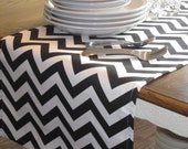 """Black and White Chevron 69"""" Table Runner - Weddings, Receptions, Parties, Dining Table, Buffet - Ready to Ship!"""
