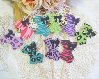 Wild Corset Cupcake Toppers - Set of 12 or 18 -  Bachelorette Party Neon Wild Animal Leopard Zebra