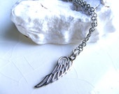 Angel Wing Necklace, Solid Sterling silver Wing charm, Stainless Steel chain