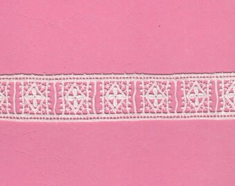"""Vintage Soft Delicate Lace 1 1/4"""" Wide Yardage White for Ribbon Threading Perfect for Lingerie"""