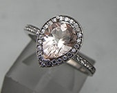AAA Natural Salmon Peach Morganite untreated Pear shape in 14K White gold ring .30cts of diamonds. B107 1512