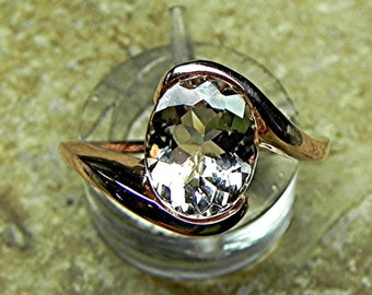AAA Peach Salmon Morganite   10x8mm  2.43 Carats   Natural untreated 14K Rose gold ring  1704