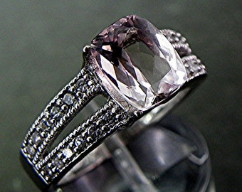 AAA Brazilian Pink Morganite   9x7mm  2.48 Carats   14K white gold diamond (.25ct) Ring   1351