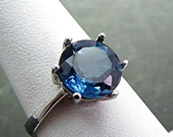 AAA London Blue Topaz   9mm  2.50 Carats   in 14K White gold ring.  MMM