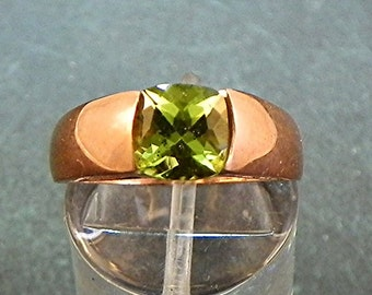 AAA Natural Apple Green Peridot untreated   7x7mm   Square Cushion Cut in 14K Rose gold ring  S77