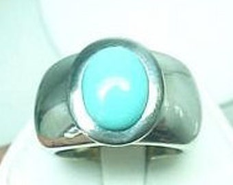 AAAA Sleeping Beauty Turquoise  from Arizona  10x8mm   Genuine Untreated in 14k WHITE gold ring 032