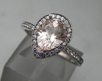 AAA Natural untreated Salmon Peach Morganite Pear shape in 14K White gold ring .30cts of diamonds. B107 1512