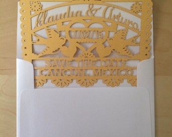 Laser cut Save the Date (60 pieces) - Love Bird Papel Picado Inspired Wedding 5x7 card Engagement Bridal Shower