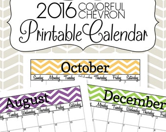 2016 Calendar Printable - Colorful Chevron Calendar - (With Editable Date Boxes) INSTANT DOWNLOAD