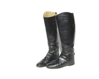 Vintage Black Leather Riding Boots / size 7.5