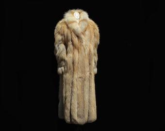 Vintage Genuine Golden Brown Fox Fur Full Length Coat