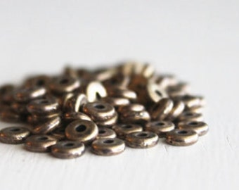 100 TierraCast 5mm Antique Brass Disk Heishi Britannia Pewter, Brass Spacer Beads, Lead Free Metal Spacer Beads