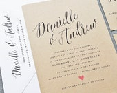 NEW Danielle Calligraphy Script Recycled Kraft Wedding Invitation Sample with Pink Heart