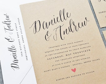 Danielle Rustic Wedding Invitation Sample on Recycled Kraft Card Stock with Calligraphy Script Font - Spring, Summer Wedding Invite