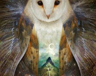 Owl, Mountain, Moon - 11X14 print | large wall art, woodland wall art, owl artwork, owl spirit animal magic, witch pagan art  | by Meluseena
