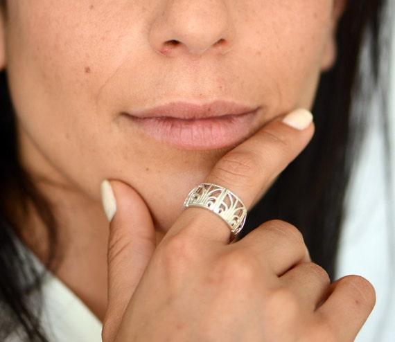 Mosaic filigree silver ring, oriental ring, woman silver ring