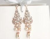 Rose Gold Chandelier Bridal Earrings Statement Wedding Earrings Swarovski Rhinestone Crystal Pearl Teardrop Vintage Wedding Jewelry CELESTE