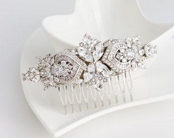 Bridal Comb Crystal Hair Comb Rhinestone Headpiece Wedding Hair Accessories Swarovski Veil Clip EVIE