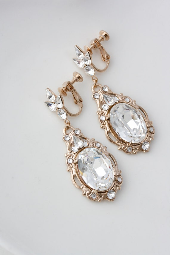 Rose Gold Clip On Wedding Earrings Large Crystal Bridal