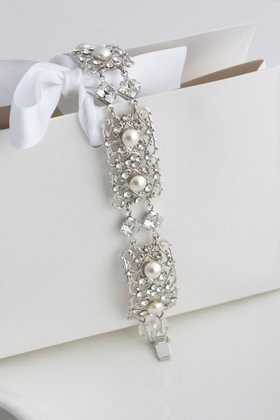 Art Deco Wedding Bracelet, Bridal Bracelet , Filigree Bridal Cuff, Swarovski Crystal Wedding Jewelry, AIRLEY