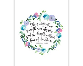 Printable Digital Poster Card - Inspirational Quote - Proverbs 31 - Bible Quote - Bible Scripture