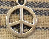 5 Small Antiqued Silver Peace Sign Charms Symbols Groovy Hippie