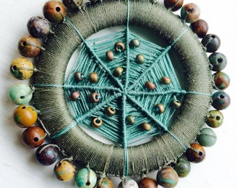 Beaded Wrapped Brooch Button or Pin in Turquoise Olive and Terra Cotta