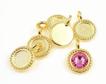 Small Gold Pendants for Personalized Jewelry Bezels ss34 Swarovski Rhinestones Great for Birthstone Designs TierraCast Bright Gold Charms