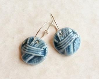 Ball of Yarn Porcelain Earrings in Teal Blue