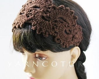 Satin Lined Headband / Hand Crocheted Henna Lace Design w/Satin Lining / Gift For Her