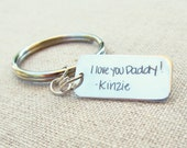 Personalized Handwriting Keychain - Father's Day Gift - Sterling Silver Personalized Key Ring  - Handwritten Gift