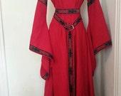 Linen 12thC Trimmed Dress and Belt Angel Sleeve Style Custom Medieval SCA LARP Renaissance Pagan