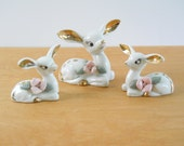 Vintage Mid Century White Deer • Mommy and Twin Fawns • White Gold Pink Flowers • Thames Japan