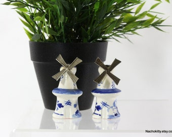 1940s Delft Salt Pepper Set | Metal & Ceramic Moving Windmills