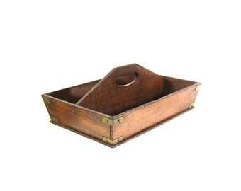 1800s Silverware Caddy, Brass & Wood, Handmade, Antique Country Home