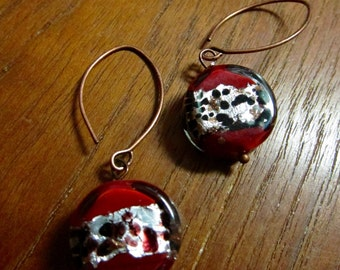 Red Murano Glass Bead Earring